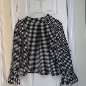 Zara Black/White Plaid Ruffle Sleeve Blouse